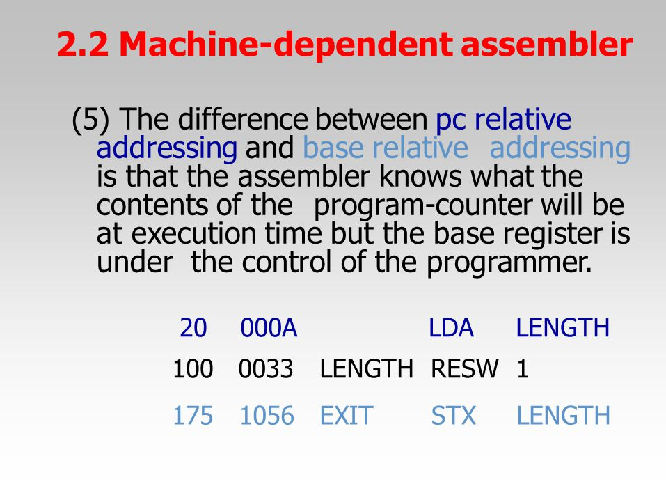 (5) The difference between pc relative addressing and base relativeaddressing is that the assembler knows what the contents of theprogram-counter will