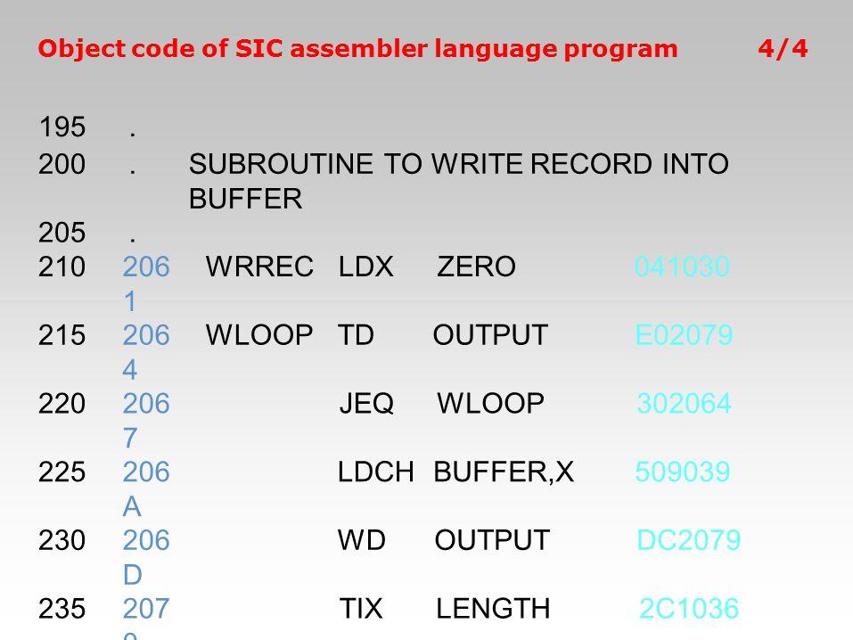 Object code of SIC assembler language program4/4 195. 200.SUBROUTINE TO WRITE RECORD INTO BUFFER 205. 210206 1 WRRECLDXZERO041030 215206 4 WLOOPTDOUTP