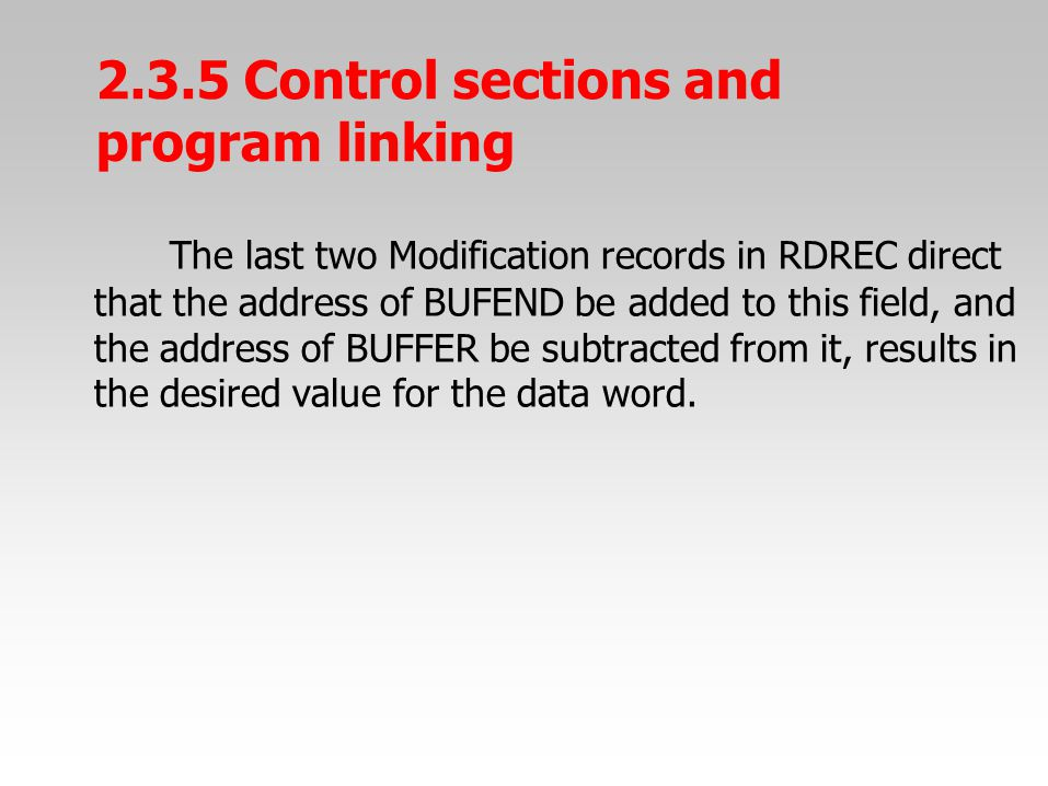 The last two Modification records in RDREC direct that the address of BUFEND be added to this field, and the address of BUFFER be subtracted from it,