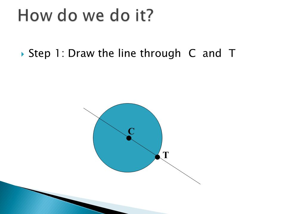  Step 1: Draw the line through C and T C T