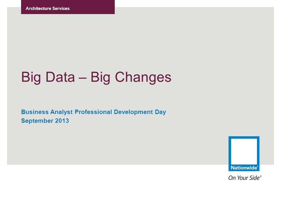 Architecture Services Big Data – Big Changes Business Analyst Professional Development Day September 2013