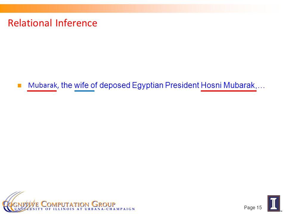 Relational Inference Mubarak, the wife of deposed Egyptian President Hosni Mubarak,… Page 15