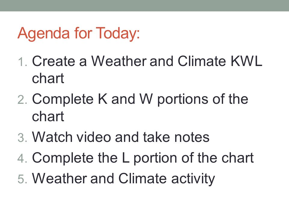 Agenda for Today: 1. Create a Weather and Climate KWL chart 2.