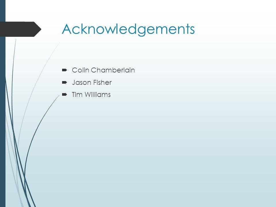 Acknowledgements  Colin Chamberlain  Jason Fisher  Tim Williams
