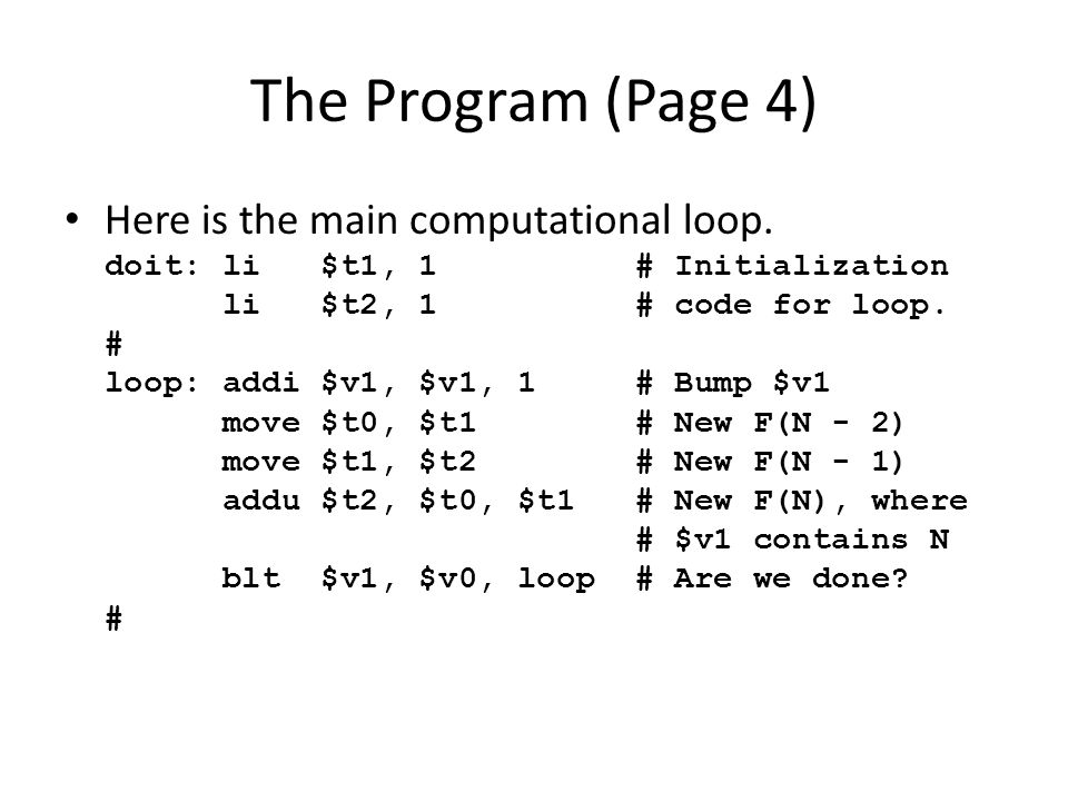 The Program (Page 4) Here is the main computational loop.