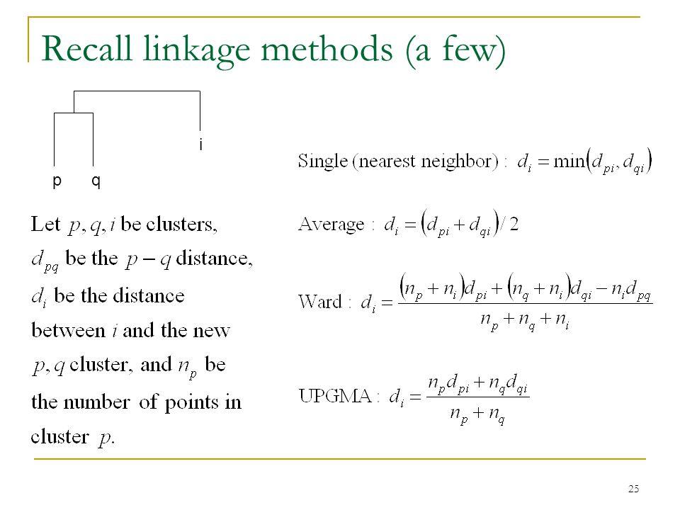 25 Recall linkage methods (a few) pq i