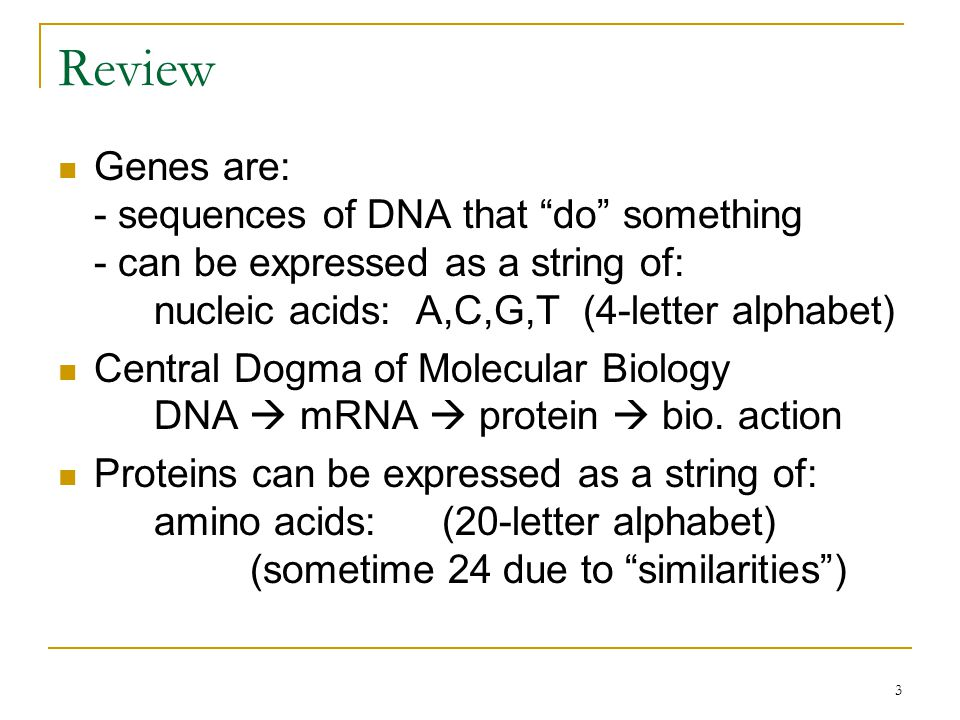 3 Review Genes are: - sequences of DNA that do something - can be expressed as a string of: nucleic acids: A,C,G,T (4-letter alphabet) Central Dogma of Molecular Biology DNA  mRNA  protein  bio.