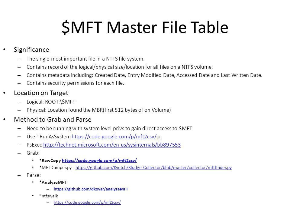 $MFT Master File Table REM **************BEGIN MFT DUMP************* echo Running fls-live.exe to grab MFT data from all NTFS drives connected to the system.