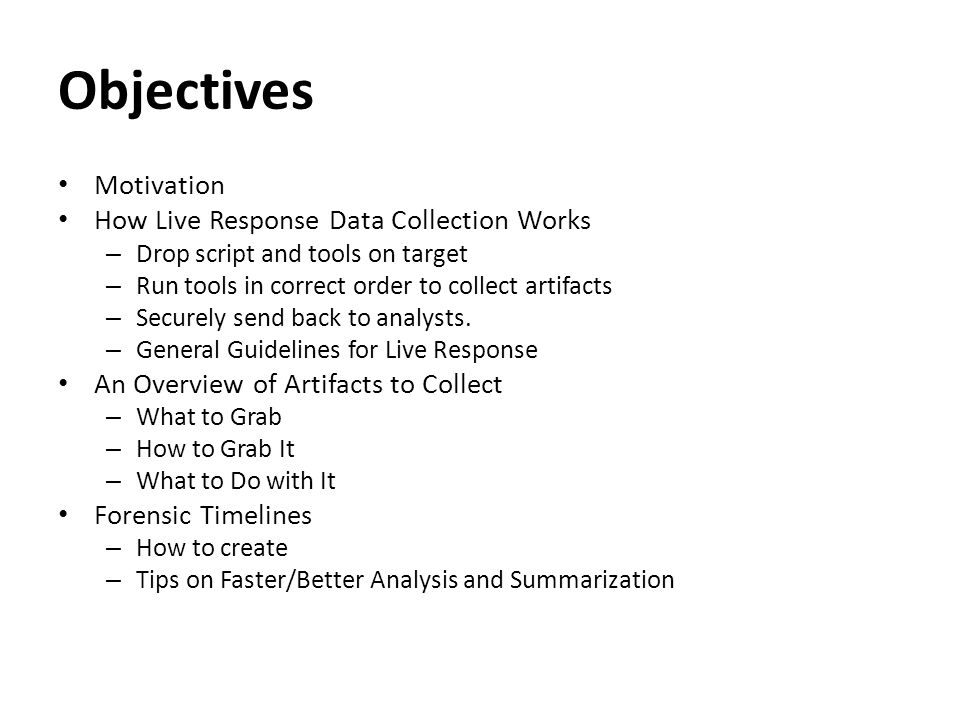 Motivation Building your own script is a great way to understand forensic artifacts/tools.