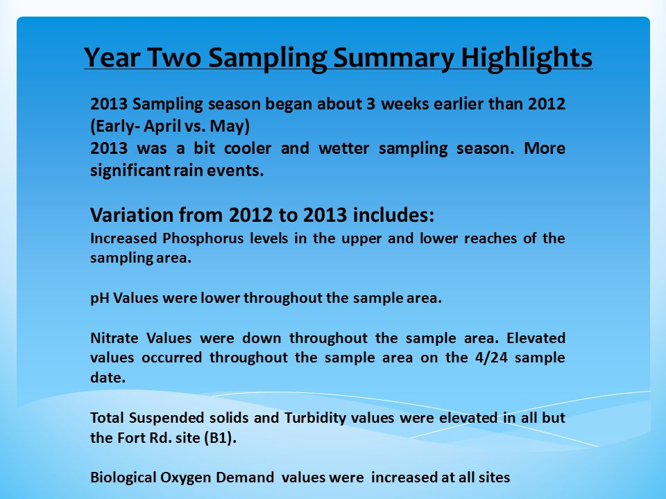 Year Two Sampling Summary Highlights 2013 Sampling season began about 3 weeks earlier than 2012 (Early- April vs.