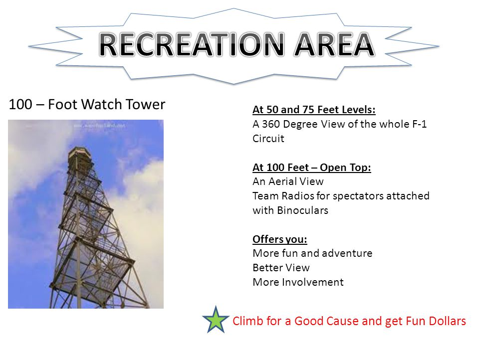 100 – Foot Watch Tower At 50 and 75 Feet Levels: A 360 Degree View of the whole F-1 Circuit At 100 Feet – Open Top: An Aerial View Team Radios for spectators attached with Binoculars Offers you: More fun and adventure Better View More Involvement Climb for a Good Cause and get Fun Dollars
