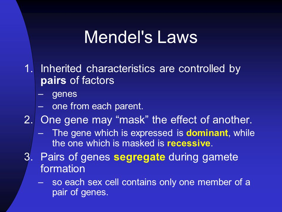 Mendel's Experiments Mendel worked with seven traits, each which occurred in two distinct forms Mendel began by studying crosses involving only one tr