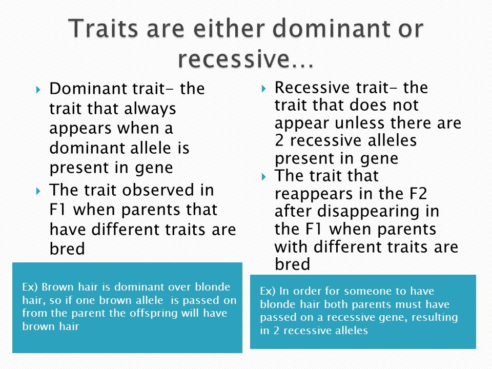 Ex) Brown hair is dominant over blonde hair, so if one brown allele is passed on from the parent the offspring will have brown hair Ex) In order for s