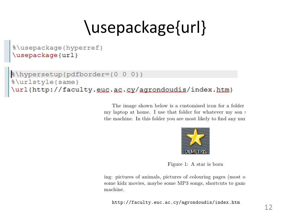 12 \usepackage{url}