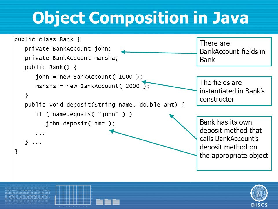 Object Composition in Java public class Bank { private BankAccount john; private BankAccount marsha; public Bank() { john = new BankAccount( 1000 ); marsha = new BankAccount( 2000 ); } public void deposit(String name, double amt) { if ( name.equals( john ) ) john.deposit( amt );...