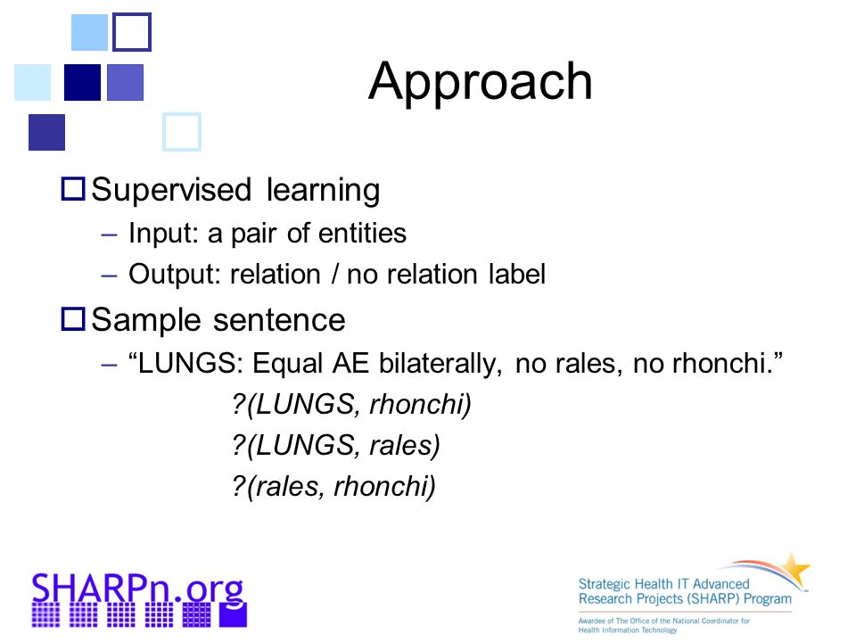 Approach  Supervised learning –Input: a pair of entities –Output: relation / no relation label  Sample sentence – LUNGS: Equal AE bilaterally, no rales, no rhonchi. (LUNGS, rhonchi) (LUNGS, rales) (rales, rhonchi)