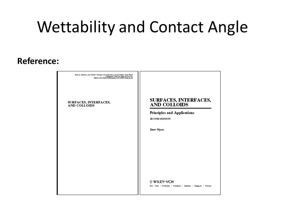 Wettability and Contact Angle Reference: