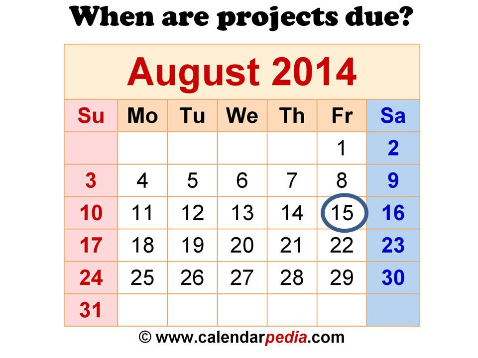 When are projects due?