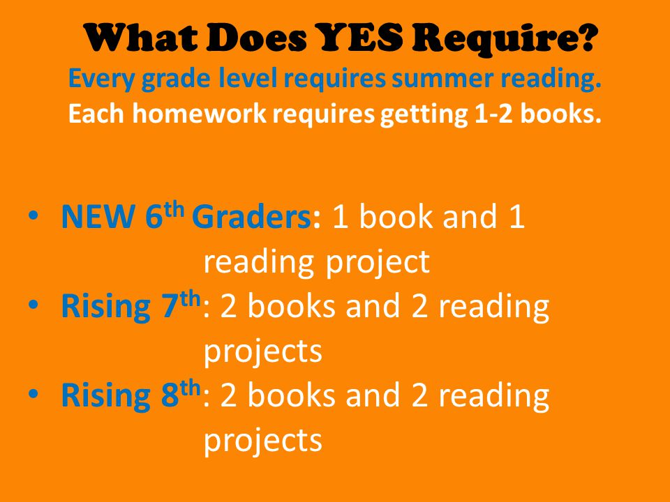 What Does YES Require? Every grade level requires summer reading. Each homework requires getting 1-2 books. NEW 6 th Graders: 1 book and 1 reading pro
