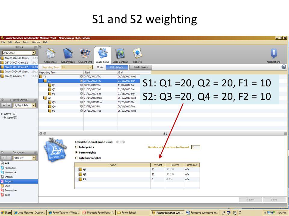 S1 and S2 weighting S1: Q1 =20, Q2 = 20, F1 = 10 S2: Q3 =20, Q4 = 20, F2 = 10