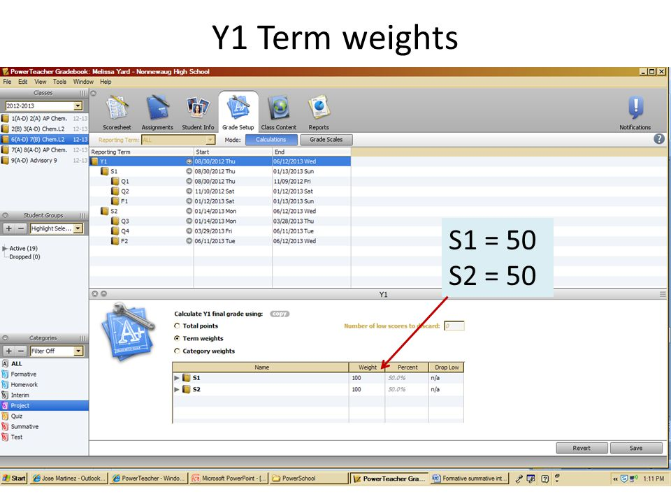 Y1 Term weights Select term weights Revise weights S1 = 50 S2 = 50