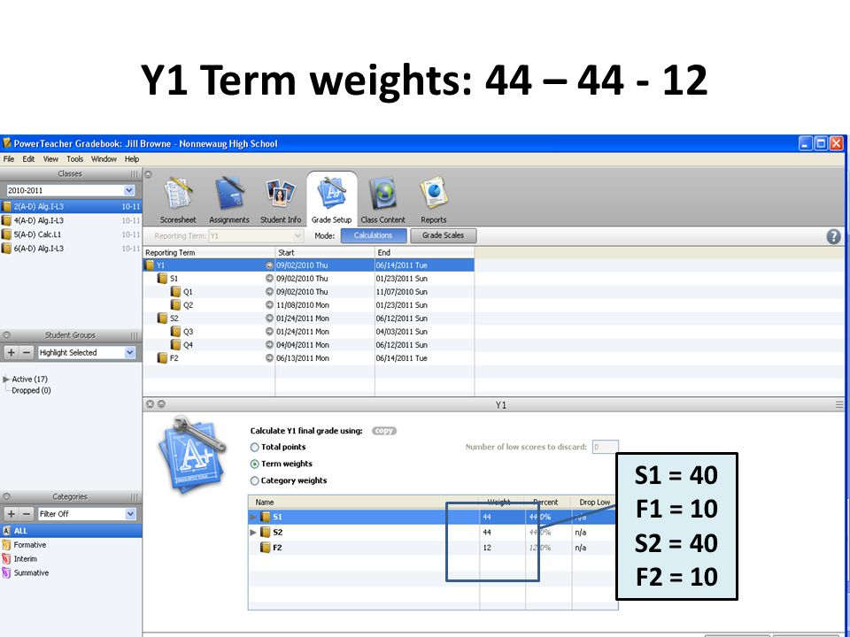 Y1 Term weights: 44 – 44 - 12 S1 = 40 F1 = 10 S2 = 40 F2 = 10