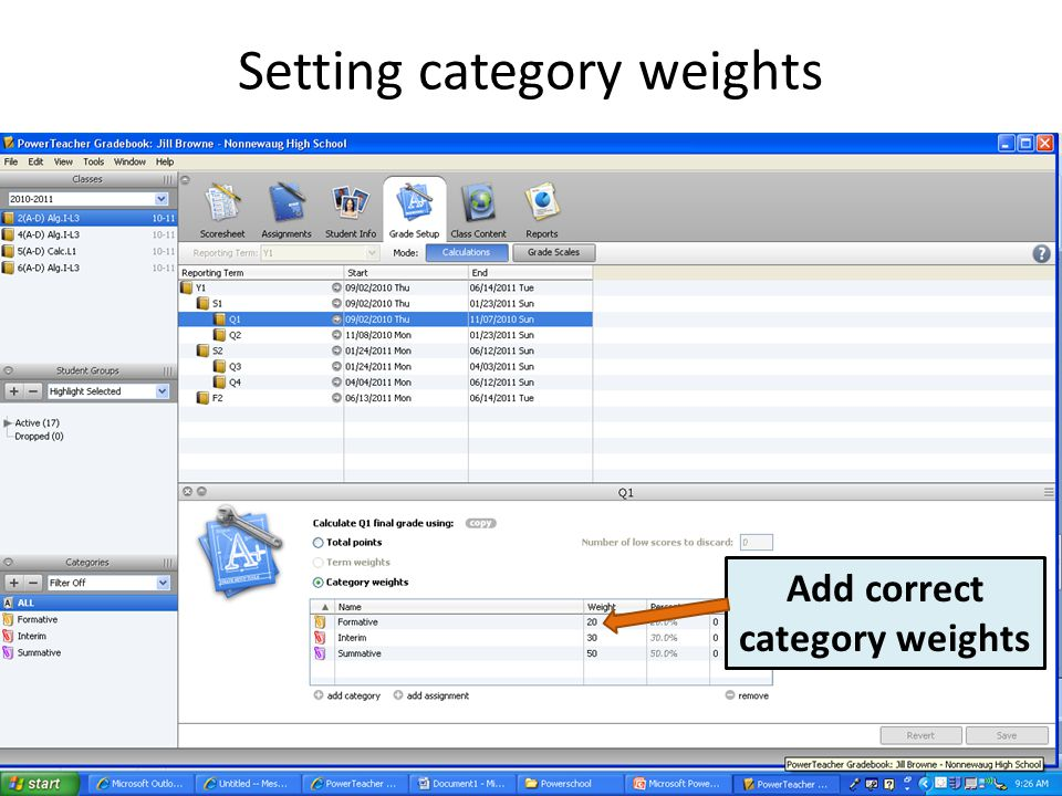 Setting category weights Add correct category weights