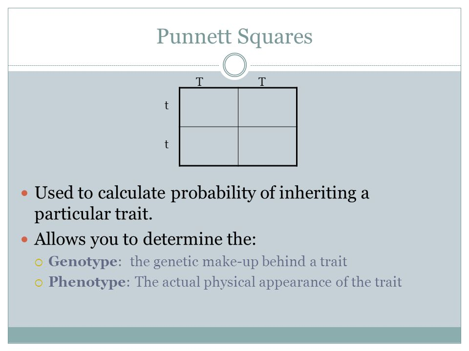 Punnett Squares Used to calculate probability of inheriting a particular trait. Allows you to determine the:  Genotype: the genetic make-up behind a