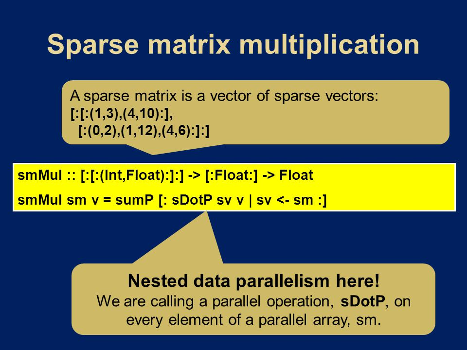 smMul :: [:[:(Int,Float):]:] -> [:Float:] -> Float smMul sm v = sumP [: sDotP sv v | sv <- sm :] A sparse matrix is a vector of sparse vectors: [:[:(1,3),(4,10):], [:(0,2),(1,12),(4,6):]:] Nested data parallelism here.