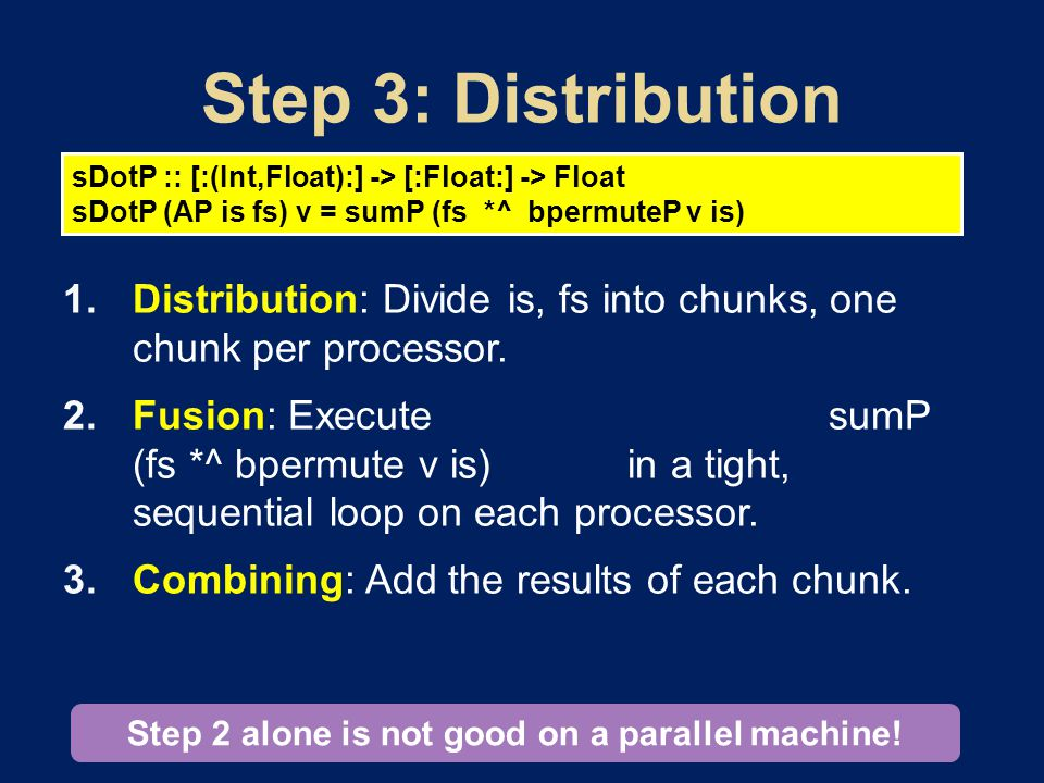  Distribution: Divide is, fs into chunks, one chunk per processor.