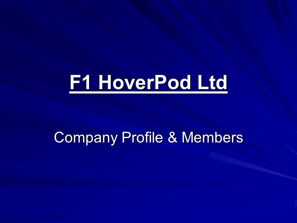 F1 HoverPod Ltd Company Profile & Members
