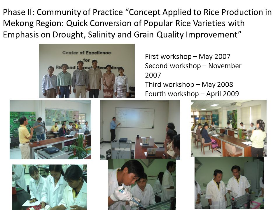 "Phase II: Community of Practice ""Concept Applied to Rice Production in Mekong Region: Quick Conversion of Popular Rice Varieties with Emphasis on Drou"