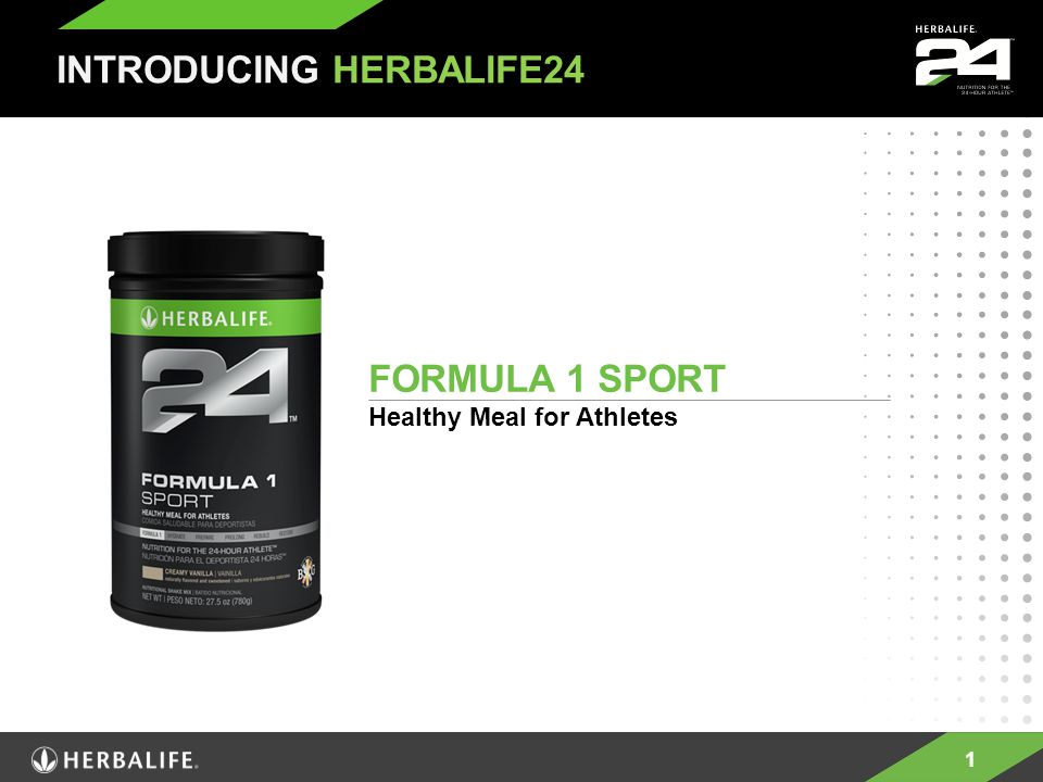 1 FORMULA 1 SPORT Healthy Meal for Athletes INTRODUCING HERBALIFE24