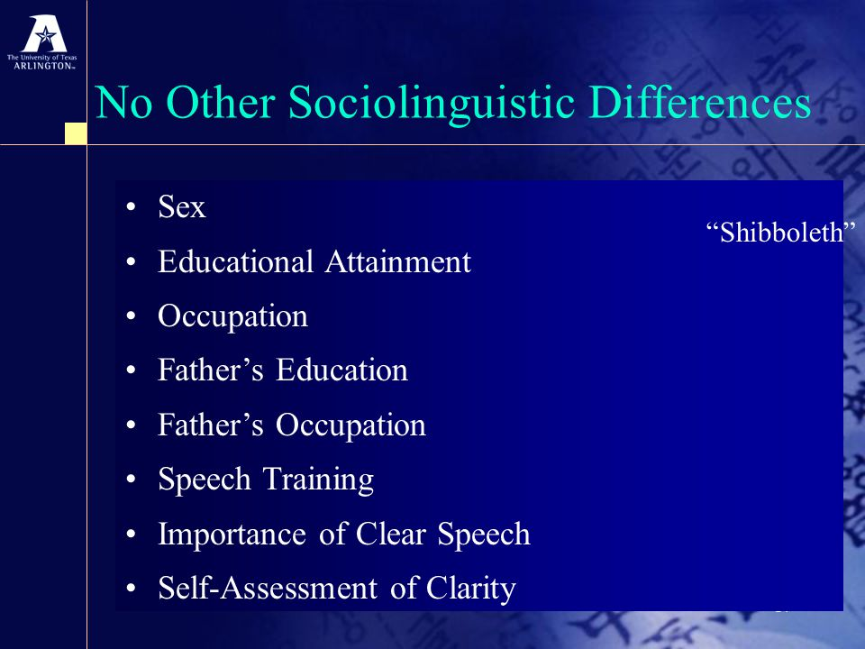17 No Other Sociolinguistic Differences Sex Educational Attainment Occupation Father's Education Father's Occupation Speech Training Importance of Clear Speech Self-Assessment of Clarity Shibboleth