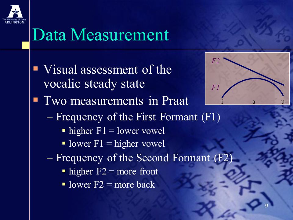 9 Data Measurement  Visual assessment of the vocalic steady state  Two measurements in Praat –Frequency of the First Formant (F1)  higher F1 = lower vowel  lower F1 = higher vowel –Frequency of the Second Formant (F2)  higher F2 = more front  lower F2 = more back i a u F2 F1