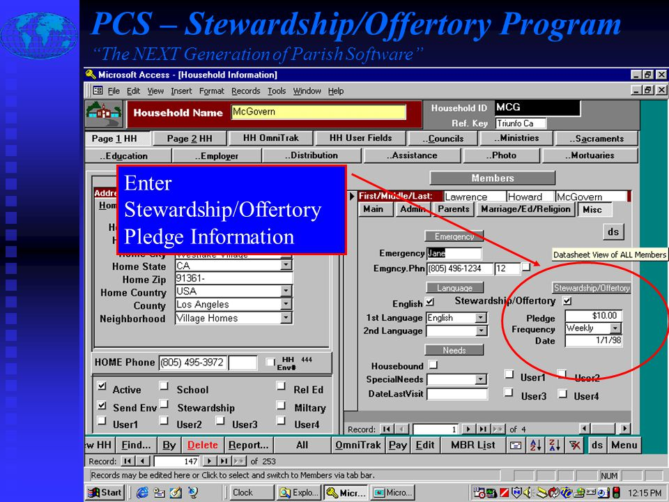 Slide #4 of 17 / {ESC} Return to Main Menu / F1 Help Enter Stewardship/Offertory Pledge Information PCS – Stewardship/Offertory Program The NEXT Generation of Parish Software