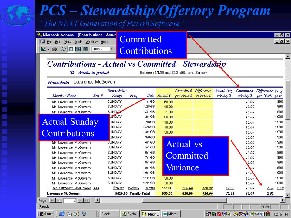 Slide #8 of 17 / {ESC} Return to Main Menu / F1 Help Actual Sunday Contributions Committed Contributions Actual vs Committed Variance PCS – Stewardship/Offertory Program The NEXT Generation of Parish Software