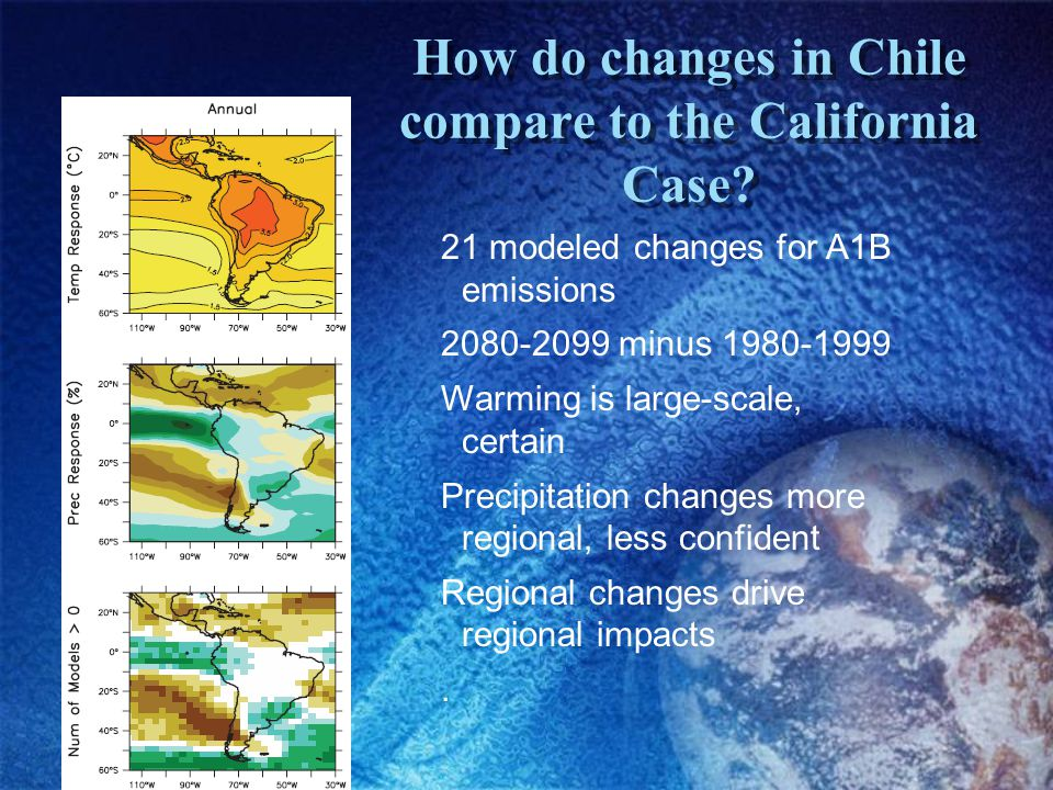 How do changes in Chile compare to the California Case.
