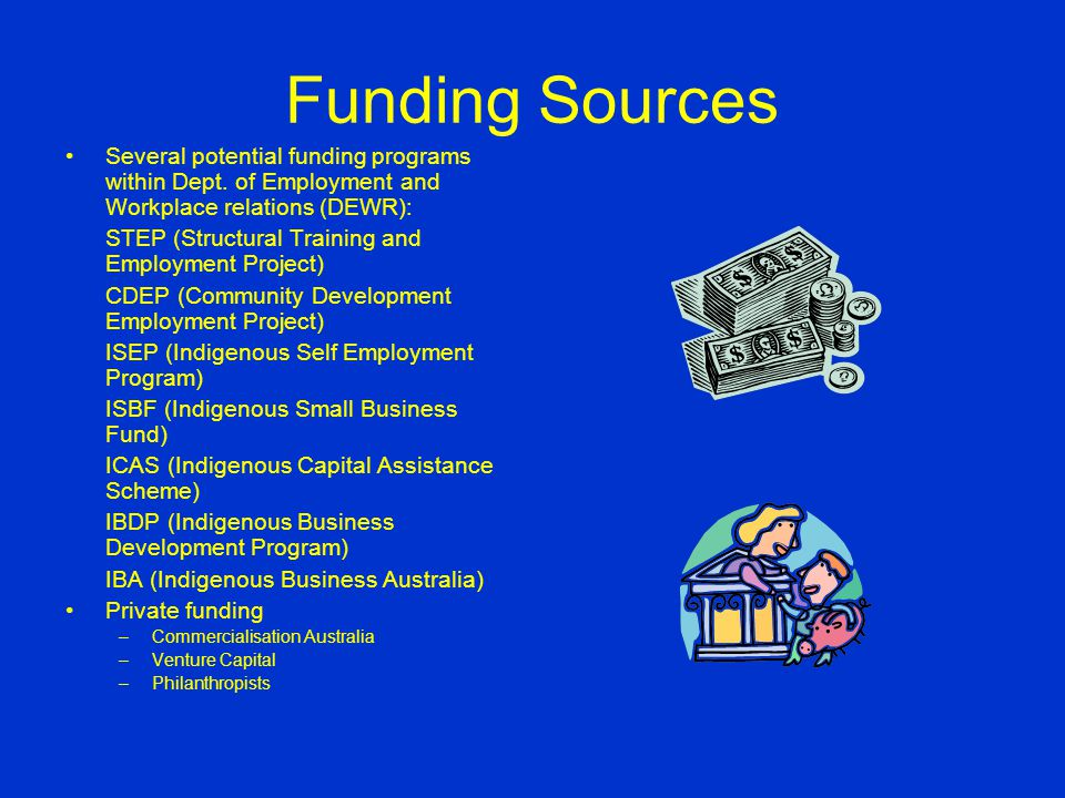 Funding Sources Several potential funding programs within Dept.