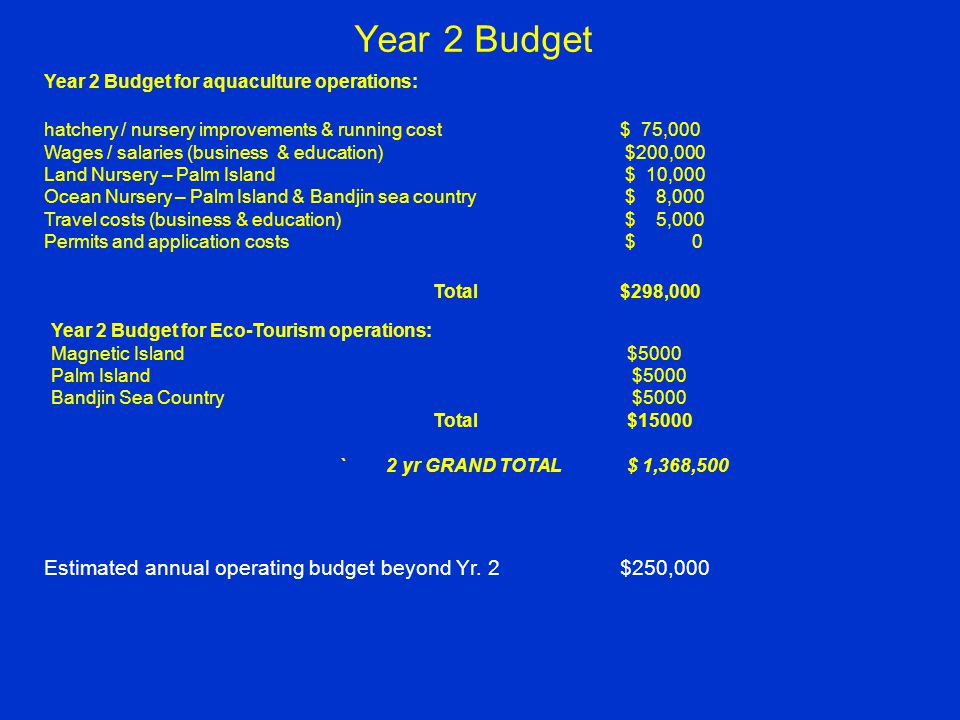 Year 2 Budget Year 2 Budget for aquaculture operations: hatchery / nursery improvements & running cost$ 75,000 Wages / salaries (business & education) $200,000 Land Nursery – Palm Island $ 10,000 Ocean Nursery – Palm Island & Bandjin sea country $ 8,000 Travel costs (business & education) $ 5,000 Permits and application costs $ 0 Total $298,000 Year 2 Budget for Eco-Tourism operations: Magnetic Island $5000 Palm Island $5000 Bandjin Sea Country $5000 Total$15000 ` 2 yr GRAND TOTAL $ 1,368,500 Estimated annual operating budget beyond Yr.