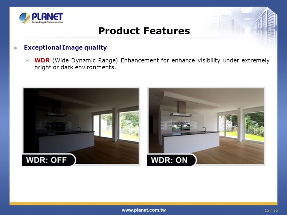 Product Features  Exceptional Image quality WDR (Wide Dynamic Range) Enhancement for enhance visibility under extremely bright or dark environments.