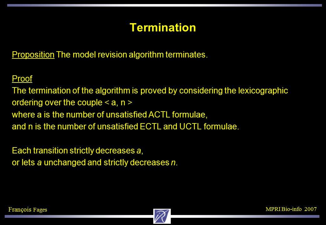 François Fages MPRI Bio-info 2007 Termination Proposition The model revision algorithm terminates.