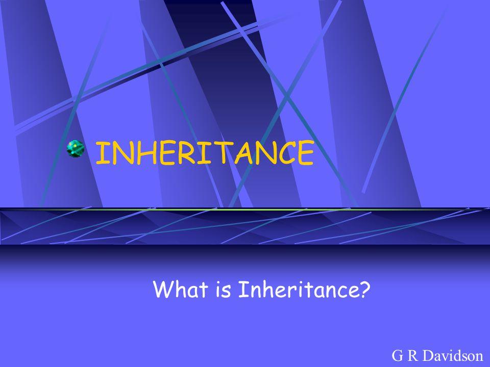 INHERITANCE What is Inheritance? G R Davidson