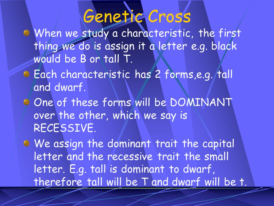 Genetic Cross When we study a characteristic, the first thing we do is assign it a letter e.g. black would be B or tall T. Each characteristic has 2 f