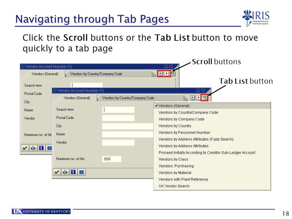 18 Navigating through Tab Pages Click the Scroll buttons or the Tab List button to move quickly to a tab page Tab List button Scroll buttons
