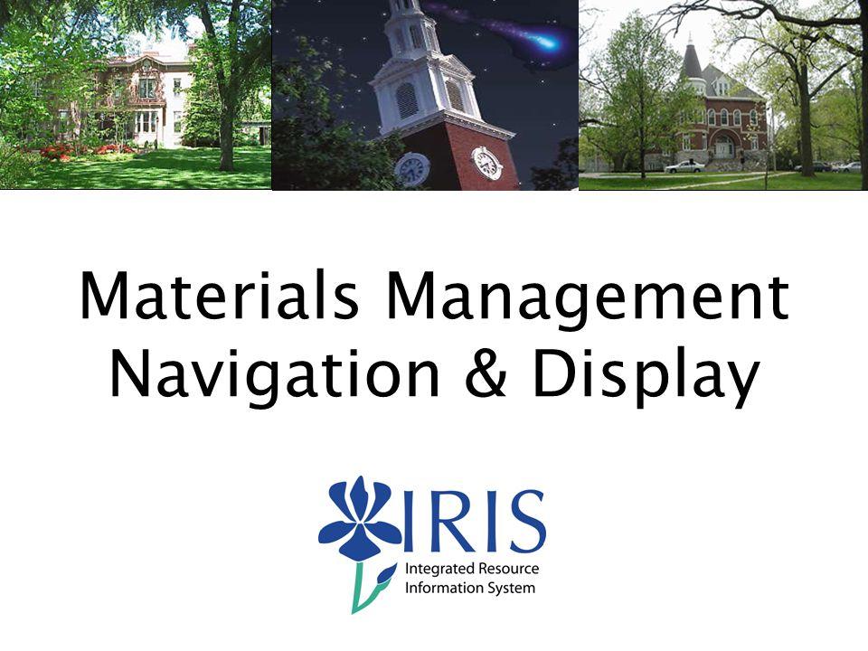 20 Materials Management Navigation & Display