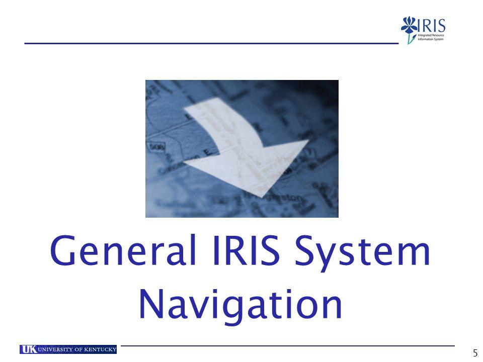 5 General IRIS System Navigation