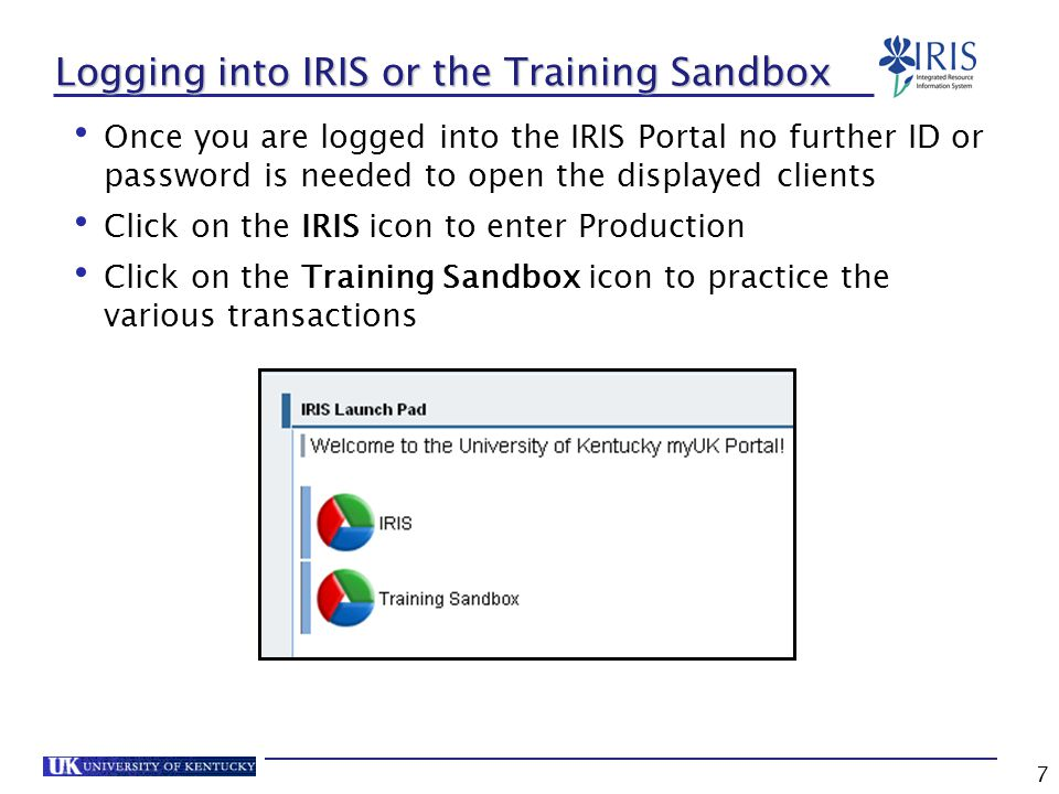 7 Logging into IRIS or the Training Sandbox Once you are logged into the IRIS Portal no further ID or password is needed to open the displayed clients Click on the IRIS icon to enter Production Click on the Training Sandbox icon to practice the various transactions