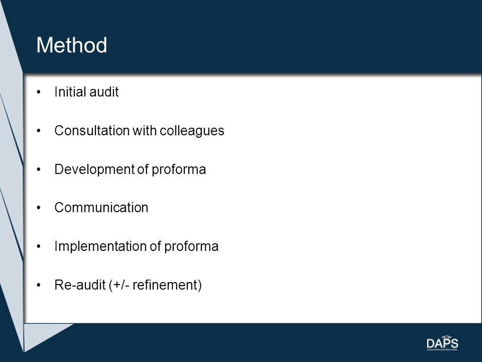 Method Initial audit Consultation with colleagues Development of proforma Communication Implementation of proforma Re-audit (+/- refinement)