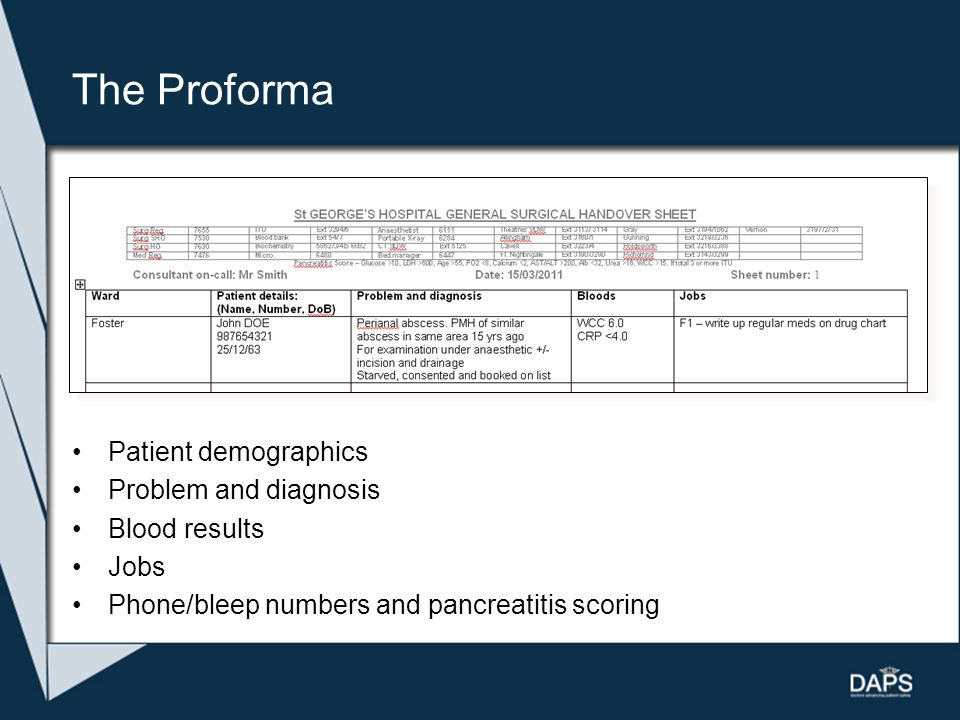 The Proforma Patient demographics Problem and diagnosis Blood results Jobs Phone/bleep numbers and pancreatitis scoring